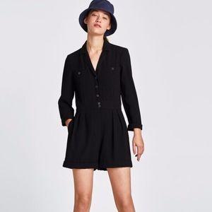 ZARA Black Short Crepe Jumpsuit with Long Sleeves